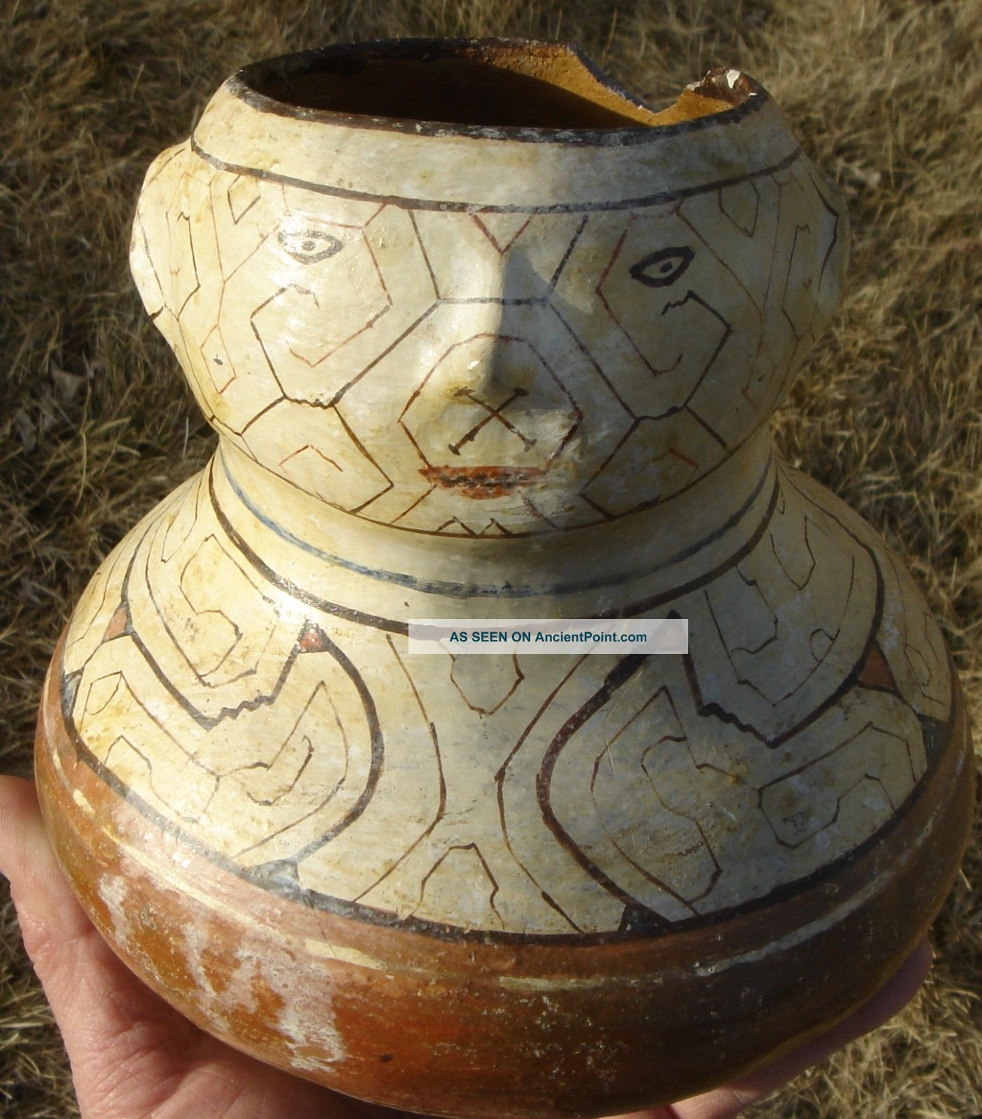 Face Pot: Sacred Fertility Lines.  Eastern Peru Latin American photo