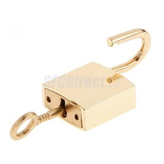 1 X Square Padlocks Mini Pad Locks Suitcase Luggage Bags Pad Lock Golden photo