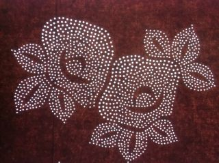 A39 Japanese Antique Ise Katagami Kimono Stencil Flower Camelia Edo C1880 photo
