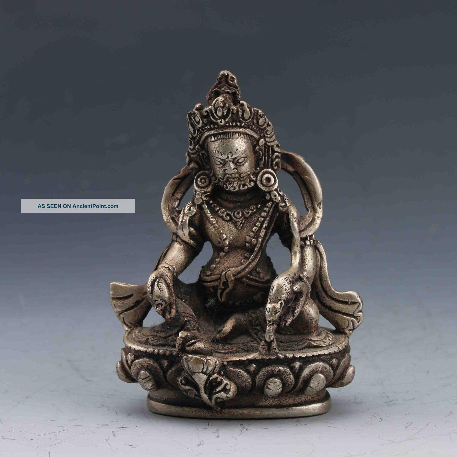 Collectible Chinese Silver Copper Handwork Tibetan Buddhism Statue Buddha photo