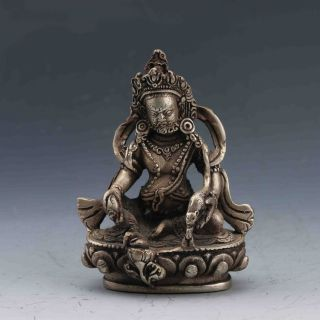Collectible Chinese Silver Copper Handwork Tibetan Buddhism Statue photo