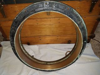Antique Salvaged Brass Ship Porthole Maritime Nautical Diameter 22.  5 Inches photo