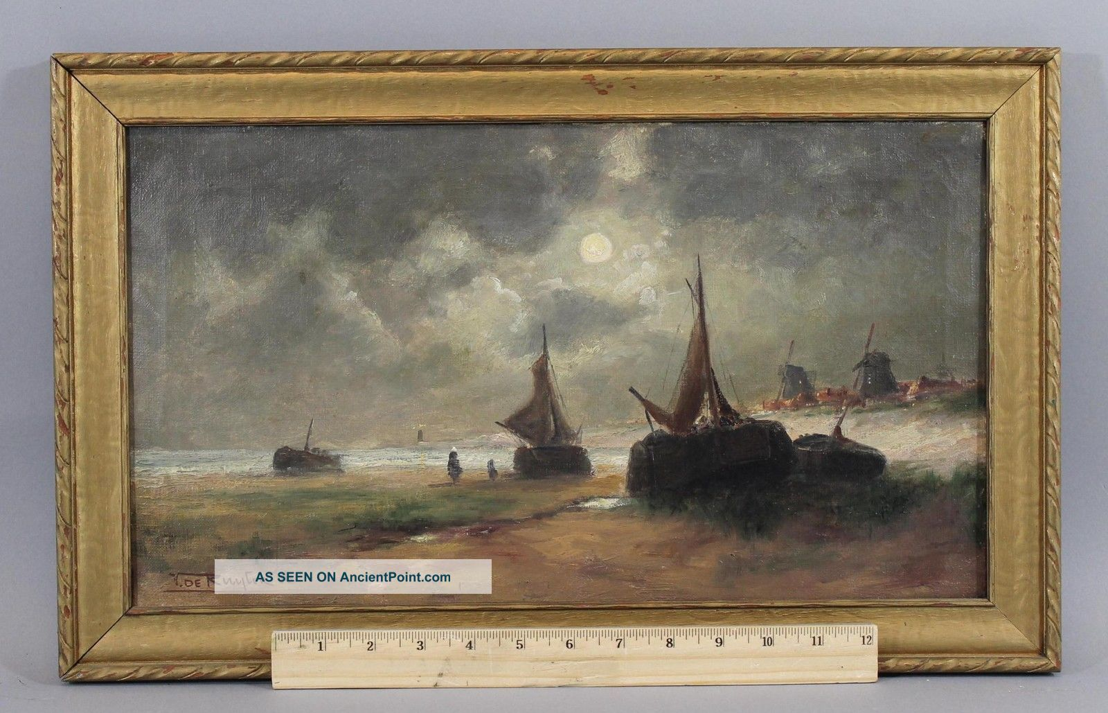 Small Victor Ruyter 1906 Antique,  Dutch Seascape Oil Painting,  Fishing Boats Other Maritime Antiques photo