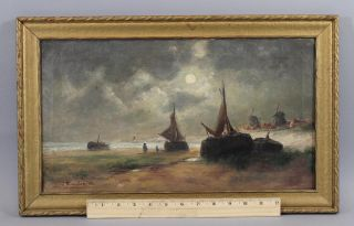 Small Victor Ruyter 1906 Antique,  Dutch Seascape Oil Painting,  Fishing Boats photo