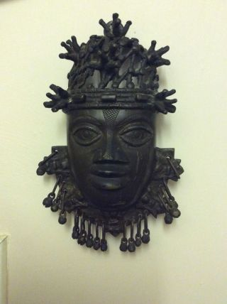 Old Tribal Benin Bronze Kingdom People Nigeria Hip Mask photo