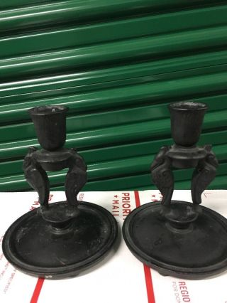 Antique Maxfield Parrish Deco Gothic Cast Iron Bird Candle Holders photo