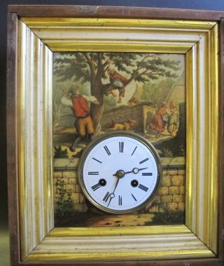 Fine Mid - 19th C.  German Hand - Painted Wall Clock In Gilt Frame C.  1860 Antique photo