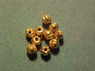 Ten Roman Gold Beads Circa 100 - 400 Ad (10) photo