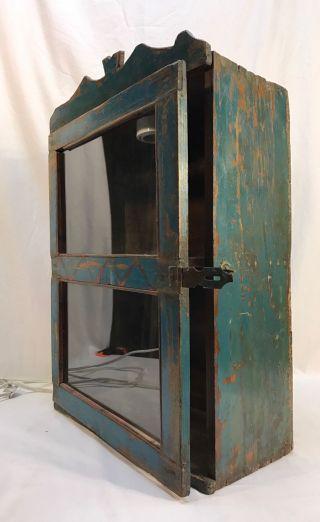 Antique Folk Art Primitive Countertop Painted Wood Showcase Display Case photo