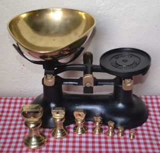 Vintage English Black Boots Kitchen Balance Scales 7 Brass Bell Weights photo