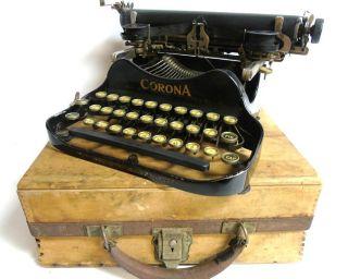 Antique 1917 Corona No.  3 Portable Folding Typewriter W/original Wood Case photo