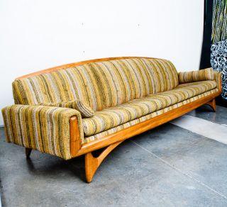 Mid Century Modern Sofa Couch Gondola Kroehler Adrian Pearsall Vintage Walnut Vg photo