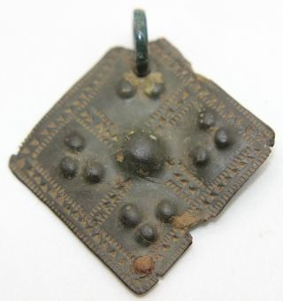 Ancient Scandinavian Viking Bronze,  Ornamented Warrior Pendant,  Amulet 800 - 1000 Ad photo