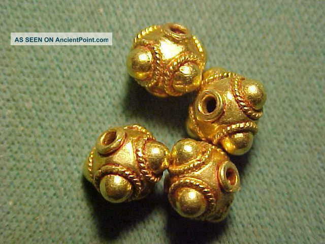 Sassanian Gold Decorative Bead Circa 224 - 642 Ad. Near Eastern photo
