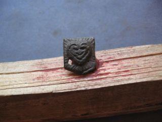Demon Face Amulet Ancient Celtic Bronze Ceremony Pendant 400 - 200 B.  C photo