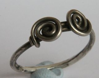 Ancient British - Celtic Period Silver Knoted /twisted Ring 100 Bc Vf, photo
