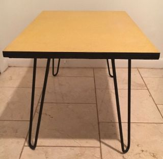 Vintage Formica Top Coffee Table Mid Century Mod Rare Hairpin Legs Yellow photo