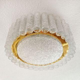 Vintage Chandelier Flush Mount Ceiling Light Glass Tubes Gold Doria Mid - Century photo