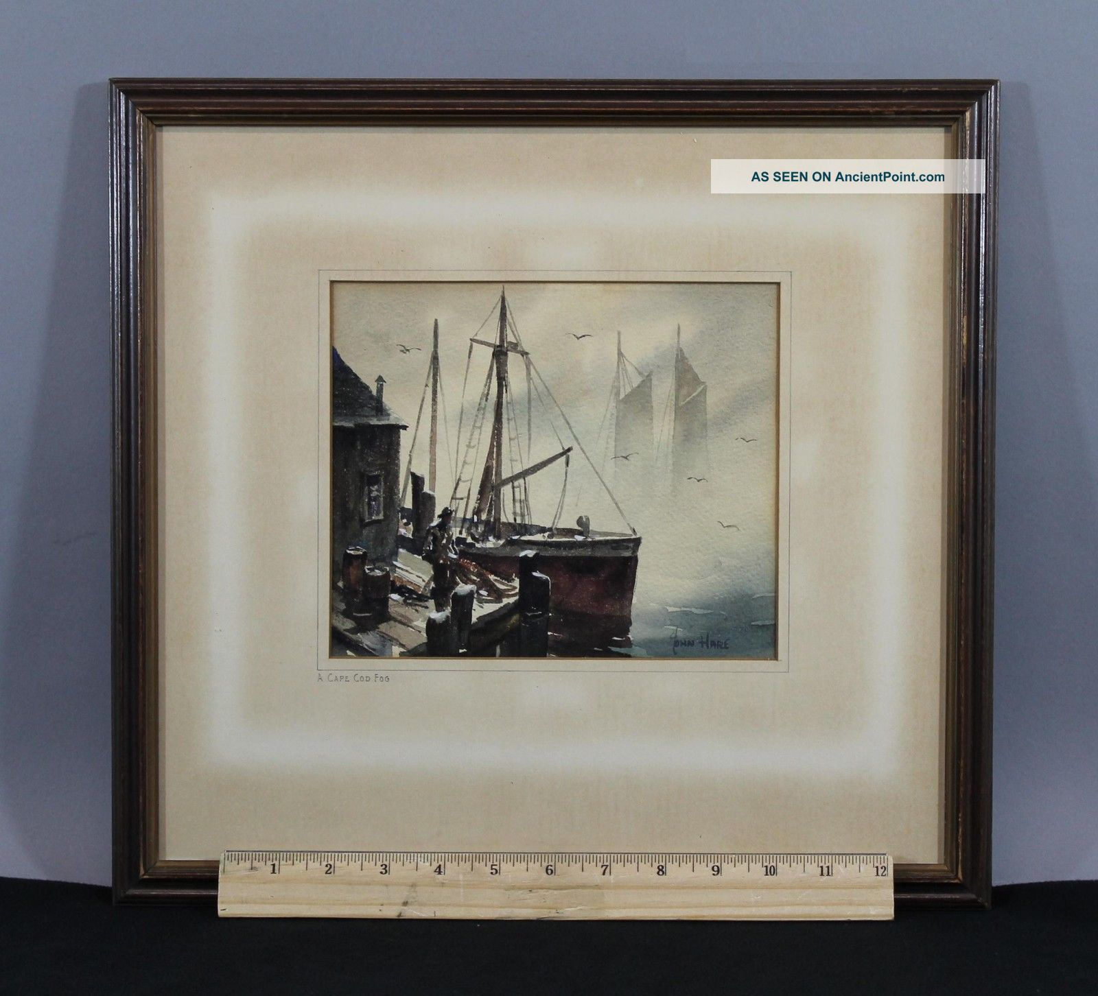 1950s John Cuthbert Hare Maritime Sailboat Cape Cod Harbor Watercolor Painting Other Maritime Antiques photo