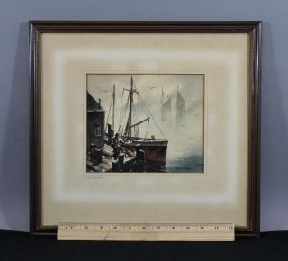 1950s John Cuthbert Hare Maritime Sailboat Cape Cod Harbor Watercolor Painting photo