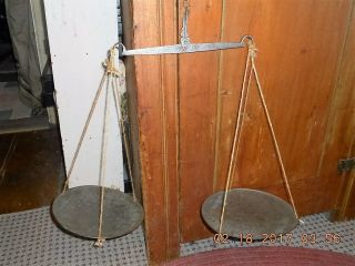 18th Century Kitchen/store Scale W Brass Pans & Hand Forged Iron Balancing Beam photo