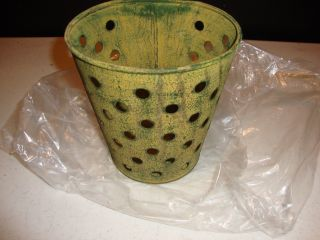 Primitive Distressed Green Tin Wall Basket W/holes / Plant Holder photo