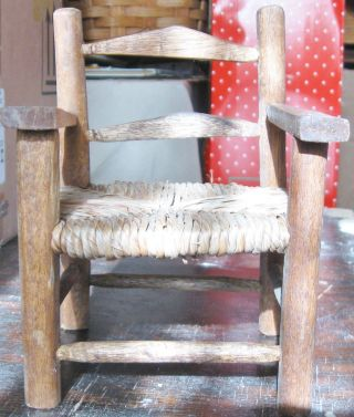 Antique Primitive Folk Art Doll Chair Handcrafted Oak Wood Rush Seat Child ' S Toy photo