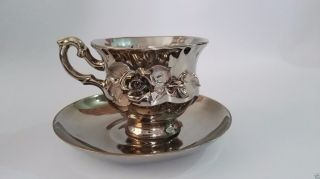 Antique Rare Tea Cup & Saucer Bronze/brown Flowers Queens Cup Vintage Ceramic photo