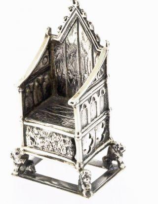 Silver Hallmarked London 1902 Miniature Coronation Throne photo