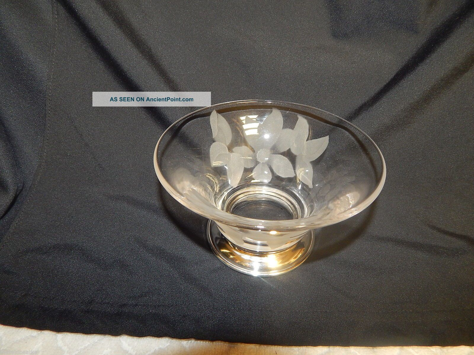 Antique Amston Sterling & Glass Bowl With Etched Daisy Bowls photo