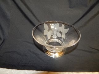 Antique Amston Sterling & Glass Bowl With Etched Daisy photo