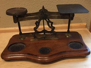 Antique British Brass & Wood Postal / Letter Scale W/ 10 Weights photo