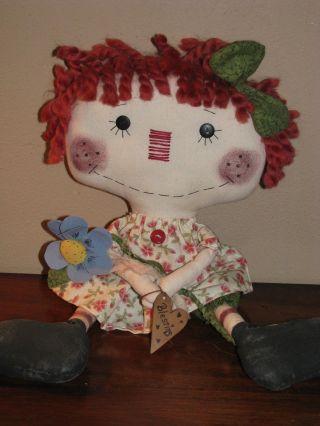 Primitive Folk Art Flower Annie.  Blessings photo