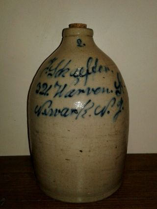 1800s 2gal Salt Glazed Stonewear Jug.  Union Pottery.  Newark Advertising photo
