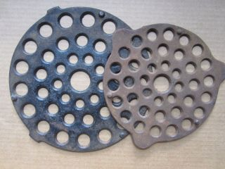 Two Antique Vintage Cast Iron Trivets Griswold 9 And 1 B photo