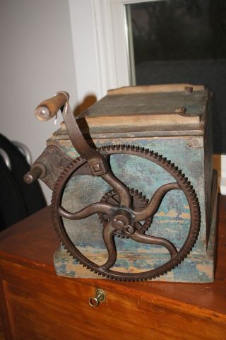 Early Old Paint Wood Butter Churn Box Outside Gears Early Industrial 2 Speeds photo