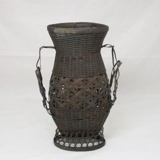 G205: Rare Japanese Weaving Copper Hanging Flower Vase With Good Work photo