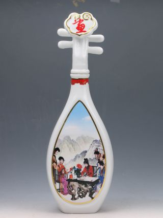 Chinese Jingdezhen Famille Rose Porcelain Hand Painted Lute Shape Vase G095 photo
