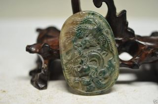 Perfect Chinese Natural Jade Hand Carved Dragon Phoenix Pendant Ad7 photo