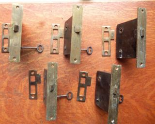 Five Antique Brass Mortise Locks With Keys & Strikers C1885 Russwin photo