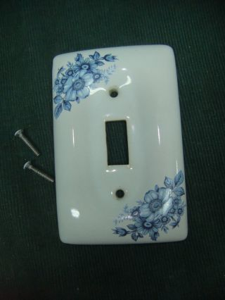 Vintage Porcelain Single Switch Plate Cover Blue & White Floral photo
