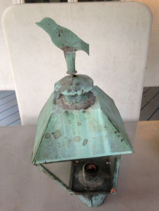 Vintage Copper Light Fixture Old Outdoor Post Light photo
