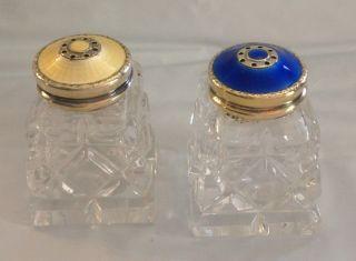Hroar Prydz Mid Century Sterling Guilloche Enamel Crystal Salt & Pepper Shakers photo
