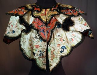 Antique Chinese Silk Forbidden Stitch Embroidery Figural Butterfly Cloud Collar photo