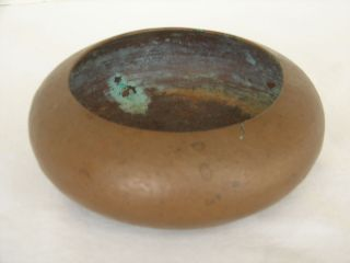 Arts & Crafts Period Hammered Copper Bowl Signed Mdf photo