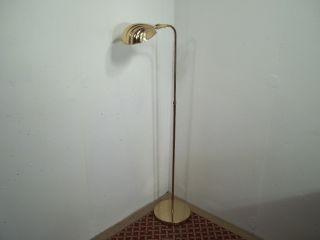 Vintage Mid Century Modern Clam Shell Floor Lamp Adjustable Gold Finish photo