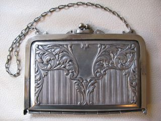 Antique Victorian Art Nouveau Silver T Card Case Compact Coin Purse 1912 2 photo