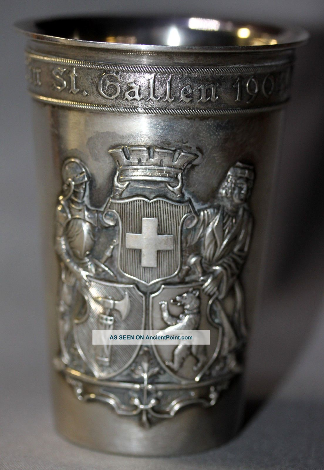 Swiss Shooting Festival Silver Cup Goblet - St.  Gallen 1904 Jetzler 800 Silver Silver Alloys (.800-.899) photo