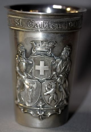 Swiss Shooting Festival Silver Cup Goblet - St.  Gallen 1904 Jetzler 800 Silver photo