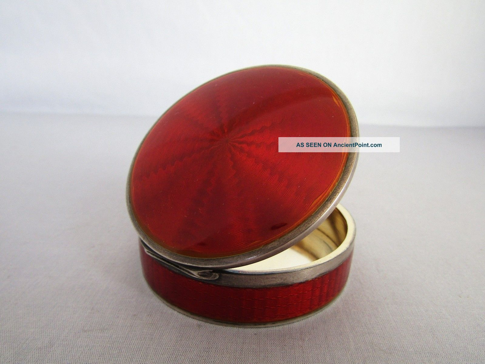 Antique Sterling Silver With Ruby Red Enamel Box Boxes photo